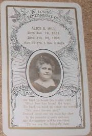 Funeral Card Alice O. Hill 1869 Illinois - 1928 Iowa