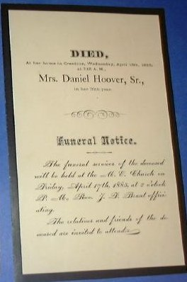 Mrs. Daniel Hoover of Ohio, Death Notice