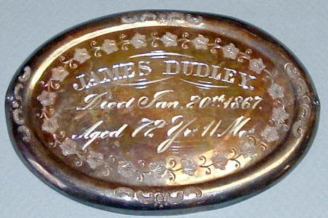 The free Death Record on the Coffin Plate of James Dudley is Free Genealogy
