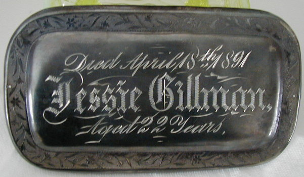 Birth & Death Record on the Coffin Plate of Jessie Gillman 1869~1891 is free genealogy