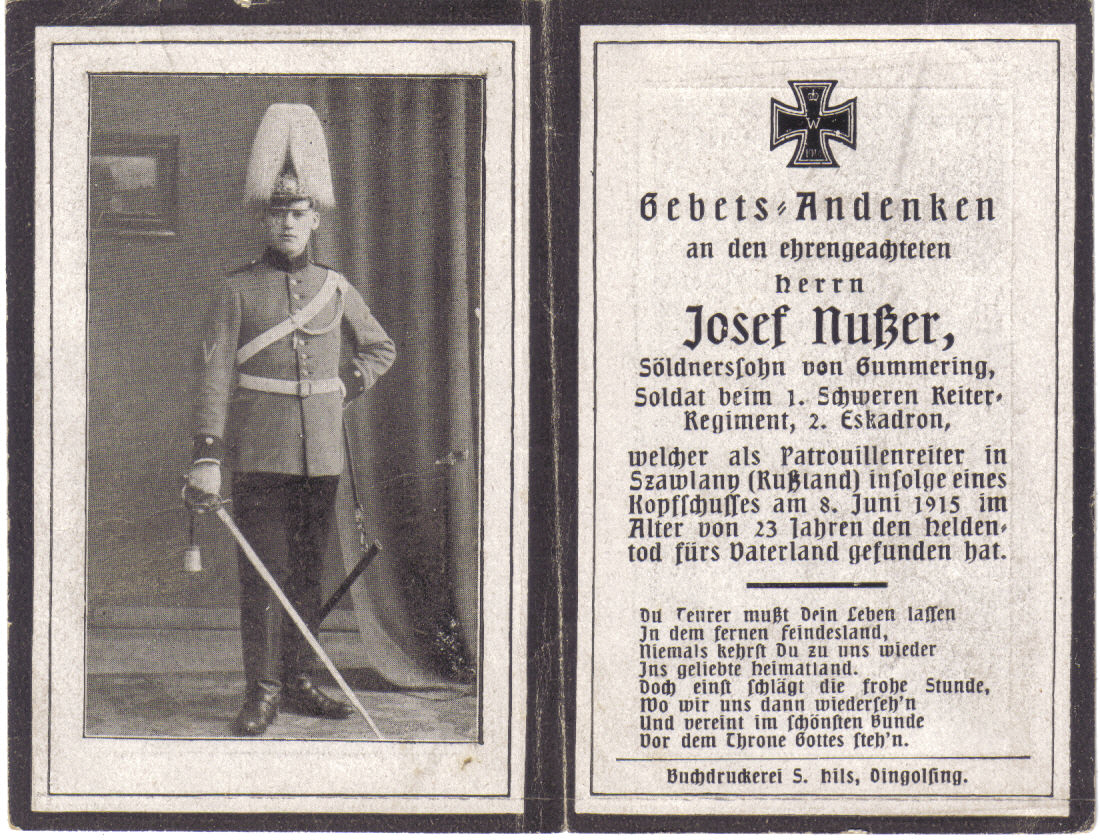 Death Record on the Memorial Card of Josef Nuzzer