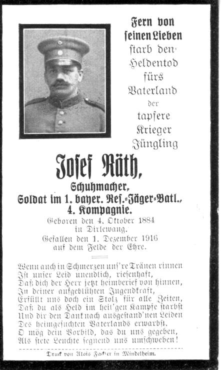 Death Record on the Memorial Card of Josef Rath