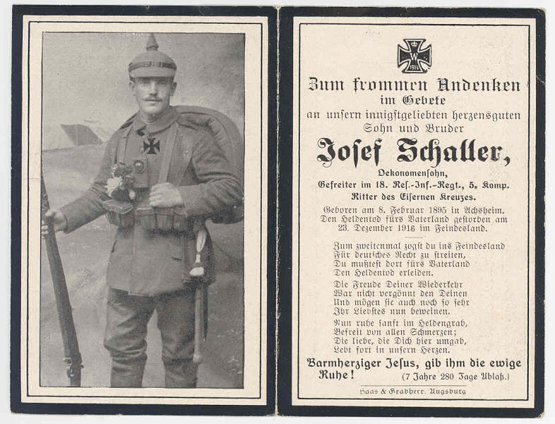 Death Record on the Memorial Card of Josef Schaller