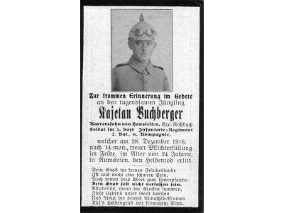 Death Record on the Memorial Card of Kajetan Buchberger