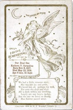 Death Funeral Card Kathern V. Cornelius 1917 - 1918