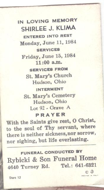 Funeral Card for Shirlee Joan Klima (Klotz) of Ohio