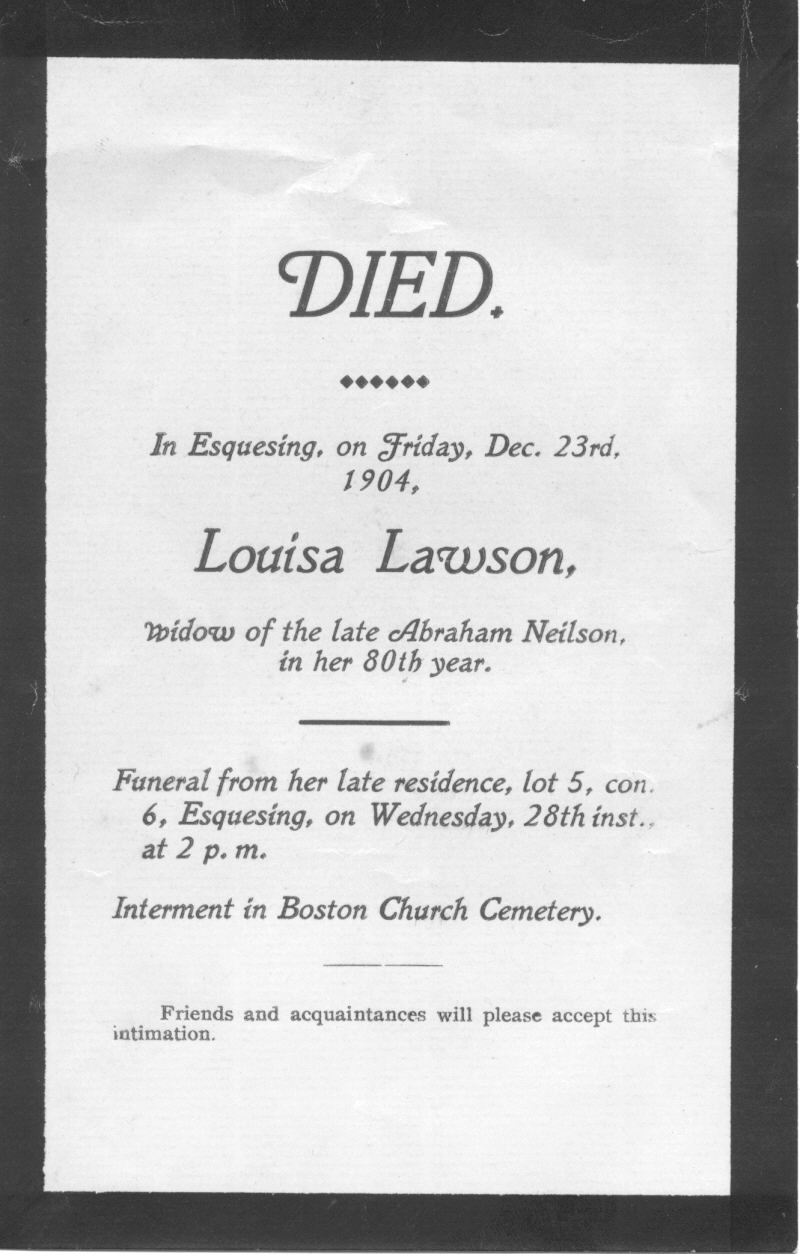 Birth & Death Record on the Coffin Plate of Louisa Neilson 1824~1904