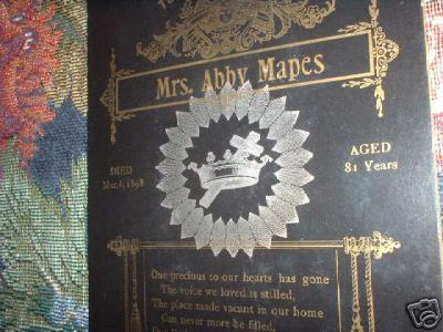 Funeral Card Mrs. Abby Mapes 1817 - 1898