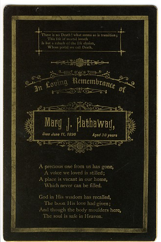 Death Record on the Memorial Card of Mary J Hathaway
