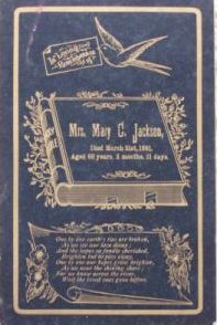 Funeral Card Mrs. Mary Jackson 1830 - 1891