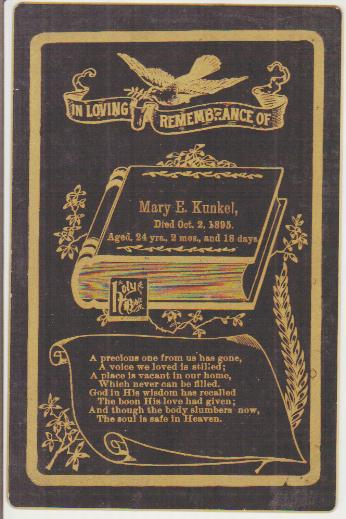 Death Record on the Memorial Card of Mary Kunkel
