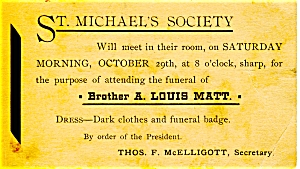 Funeral Notice St. Michael's Society Brother A. Louis Matt in Pennsylvania