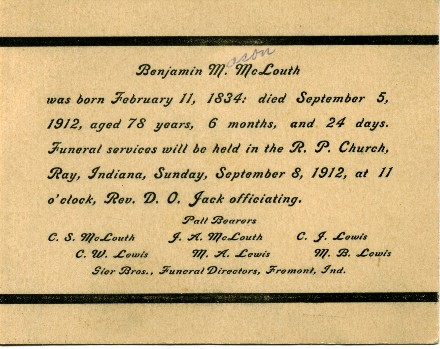 Funeral card Benjamin McLouth of Ray Indiana