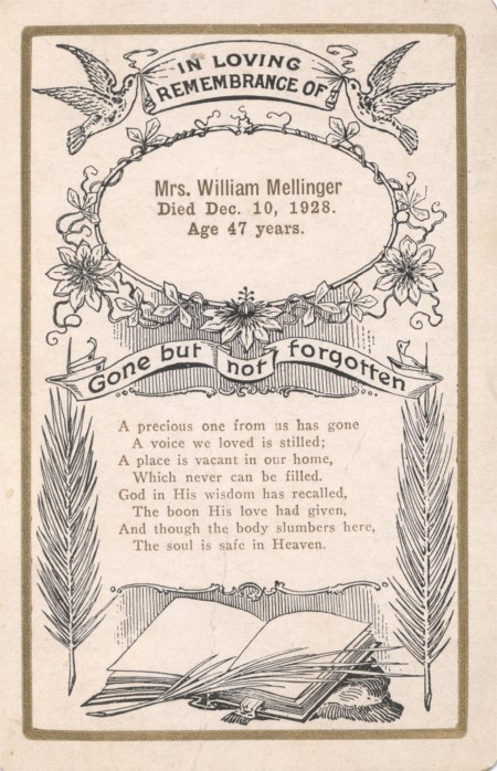 Funeral Card Mrs. William Mellinger 1881 - 1928 Pennsylvania