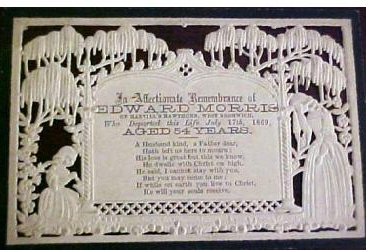 Funeral Memorial Mourning card EDWARD MORRIS of Harvill's Hawthorn, West Bromich, England 1815 - 1869