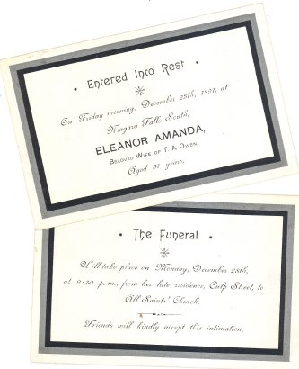 Funeral Notice for Eleanor Amanda, wife of T.A. Owens, 1860 - 1891 Niagara Falls, Ontario