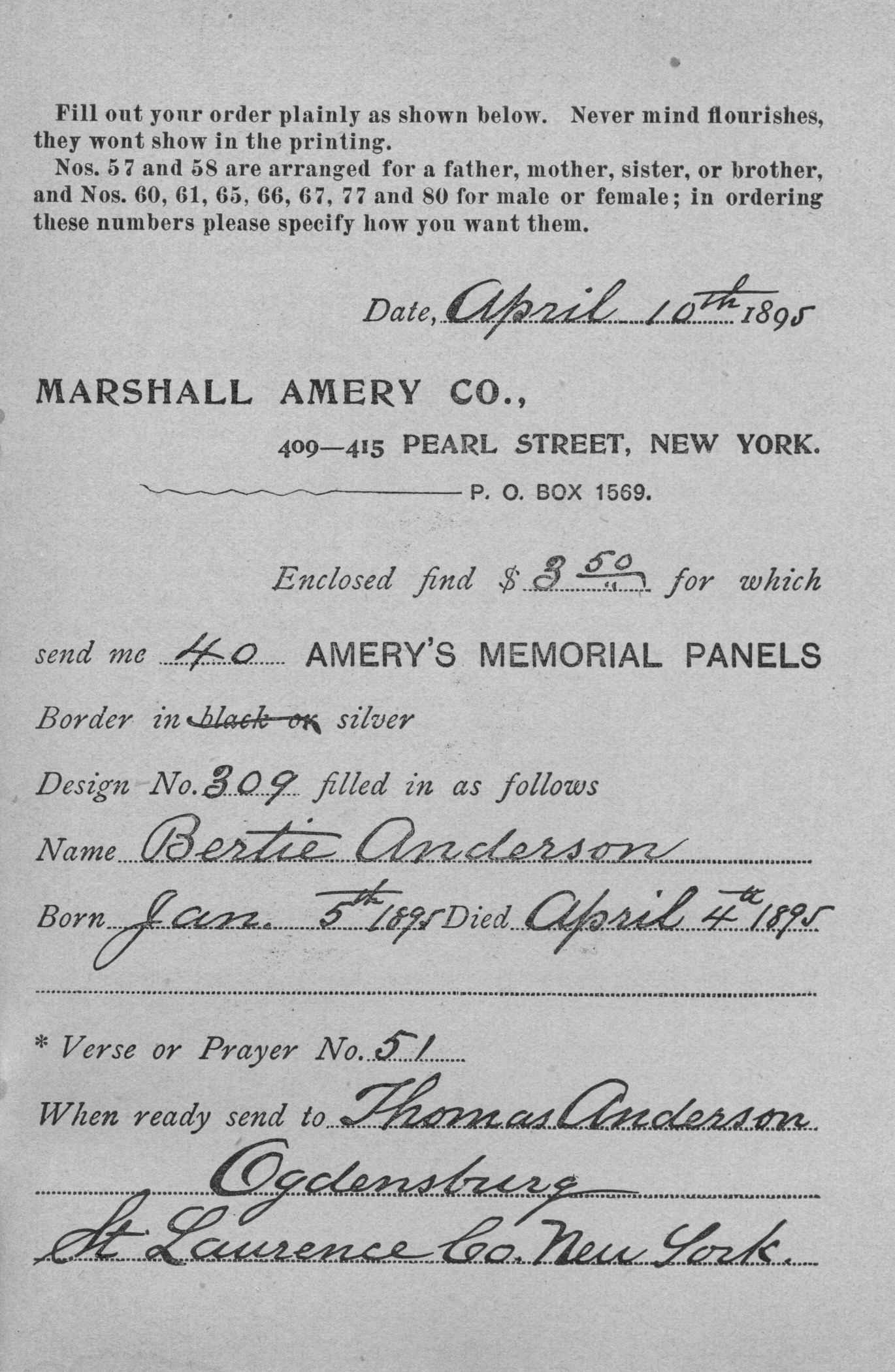 search death records in 1895 catalogue for Marshall Amery