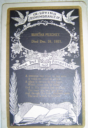 Martha Peachey funeral card died  Dec. 31, 1921