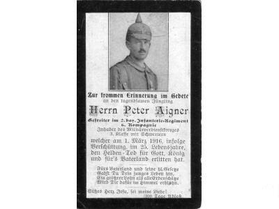 Death Record on the Memorial Card of Peter Aigner