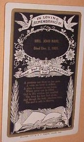 Funeral Death Card for Mrs. John Rahl, Died Dec., 2, 1921