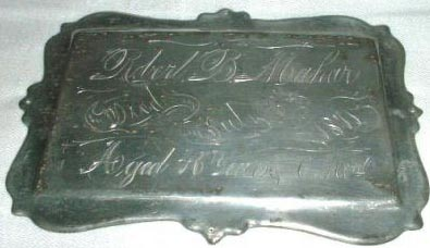Birth & Death Record on the Coffin Plate of robert mahar