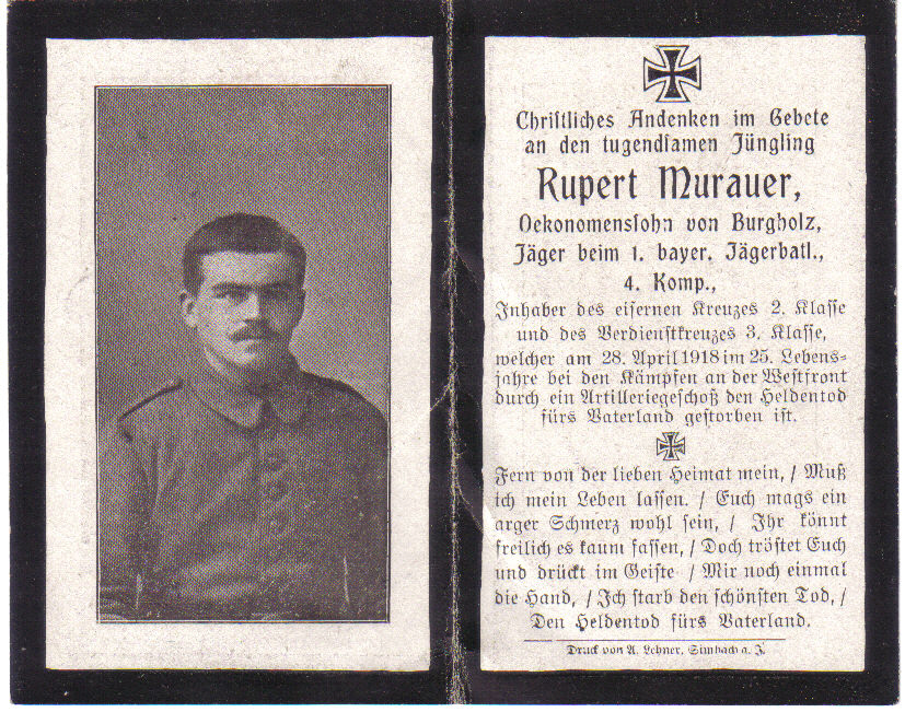 Death Record on the Memorial Card of Rupert Murauer