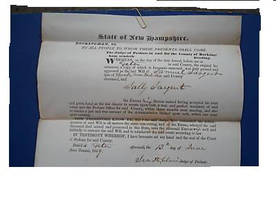 death records on the The Will of Samuel Sayent, New Hampshire, 1849