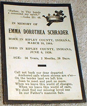 Funeral Card for  Emma Dorothea Schrader, 1864 - 1920 Ripley County Indiana