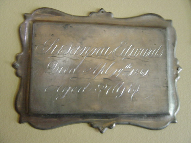 The Birth Record and Death Record on the Coffin Plate of Susanna Edwards 1774~1861 is Free Genealogy