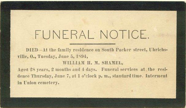 Funeral notice for William Shamel 1866 - 1894 Uhrichsville