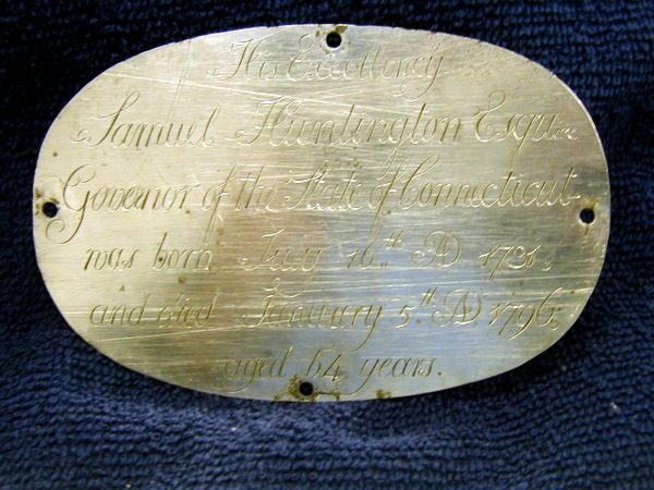 Birth & Death Record on the Coffin Plate of Samuel Huntington