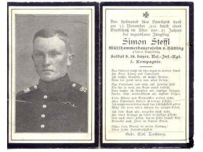 Death Record on the Memorial Card of Simon Steffl