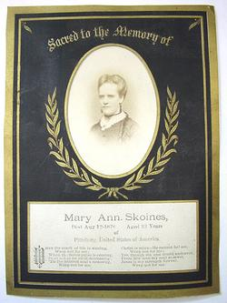 Death Record Mary Ann Skoines Pittsburgh Pennsylvania