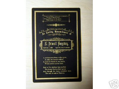 S. Powell Hampton funeral death card