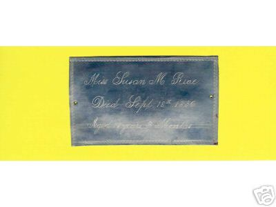 Birth & Death Record on the Coffin Plate of Miss Susan M. Rice 1839~1856