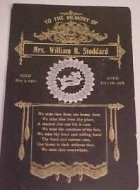 Funeral Card Mrs. William Stoddard England