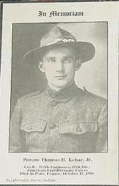 Death Card Pt. Thomas Kehoe Jr died in France 1918