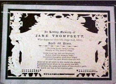 Funeral Memorial Mourning card JANE THOMPSETT 1833 - 1902 England