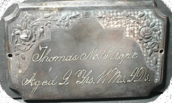 Birth & Death Record on the Coffin Plate of Thomas M Strope is free genealogy