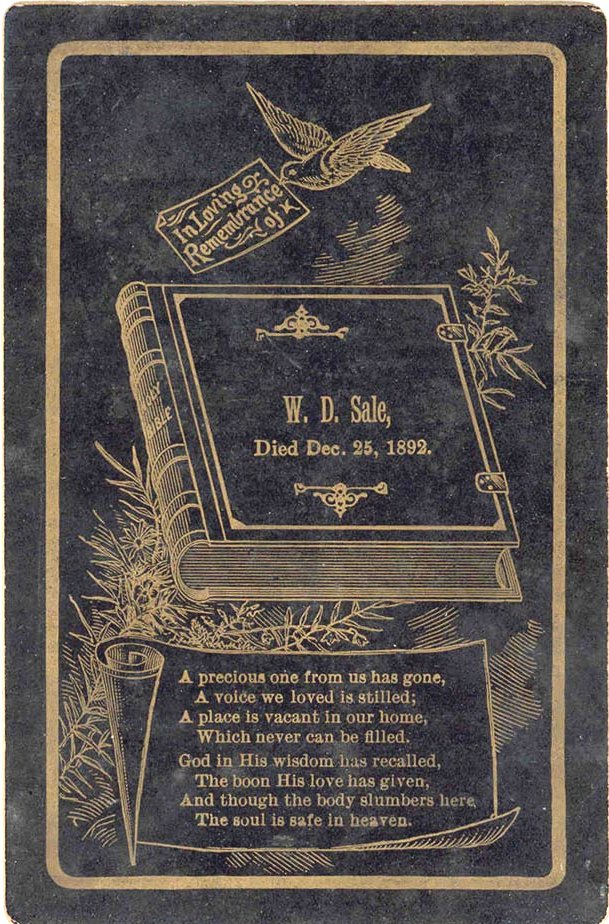 Death card W. D. Sale 1892