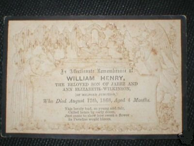 Funeral Card William Henry Wilkinson son of Jabez Wilkinson 1868 - 1868 of Milford Junction England