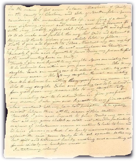 death records on the will of Aron Marshall of Unity NH 1824