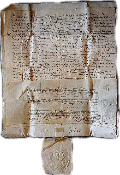 death records on the Last Will and Testament Deed of William Rutter