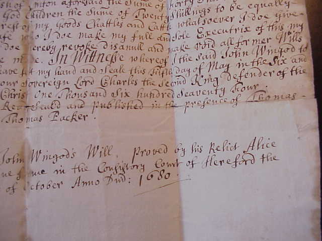 find death records on the will of John Wingod