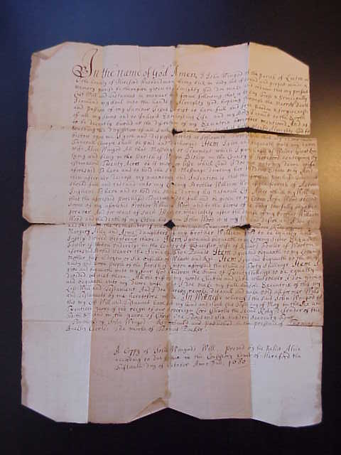 death records on the will of John Wingod