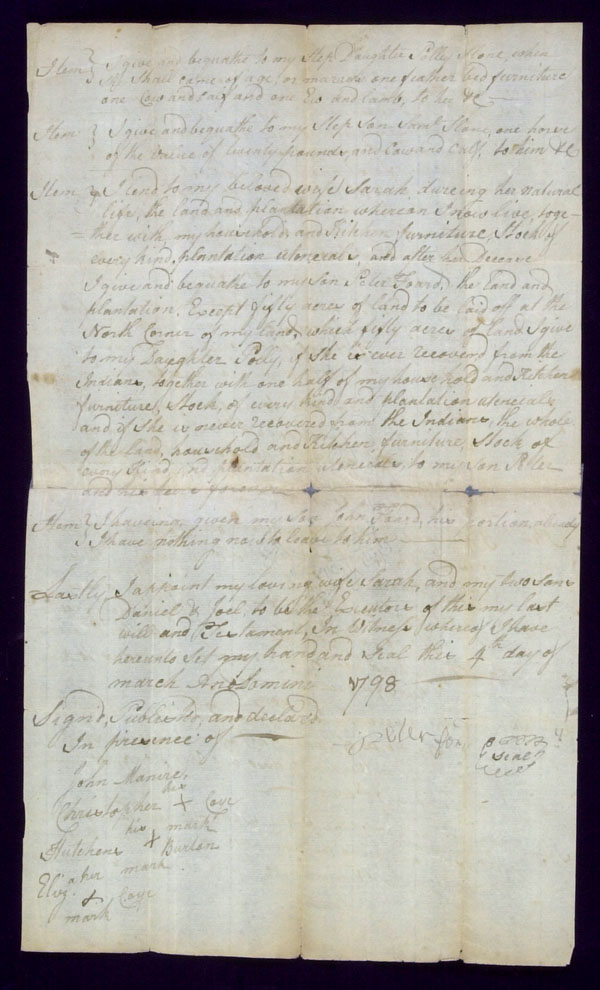 death records on the will of Peter Foard, Madison County, Kentucky, March 4, 1798