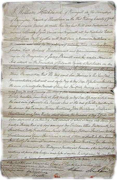 death records on the Last Will and Testament of William Strickland