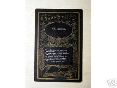 Funeral Card William Hampton