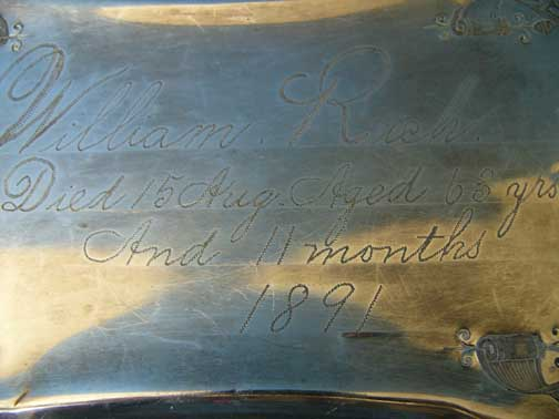 Birth & Death Record on the Coffin Plate of William Rich 1828~1891