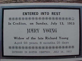Memorial funeral card for Mary Young of Crediton, Huron County Ontario, 1820 - 1913
